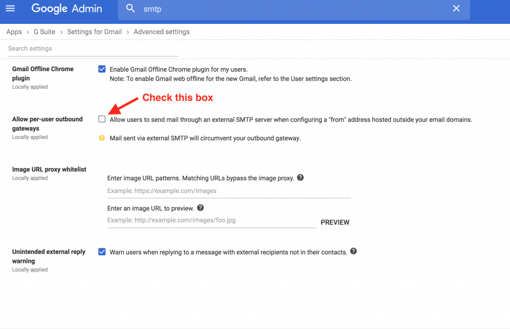Enable SMTP for G Suite Users