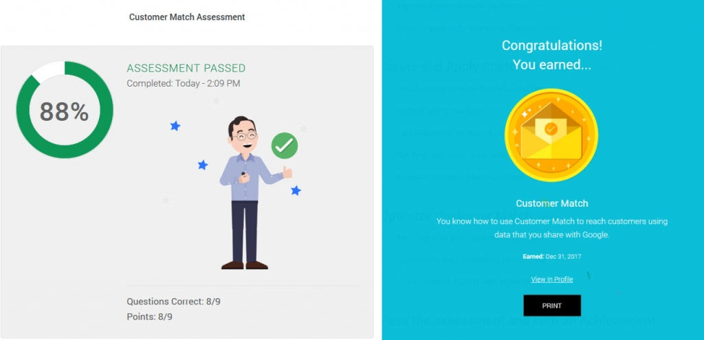 screenshot of academy for ads assessment completion