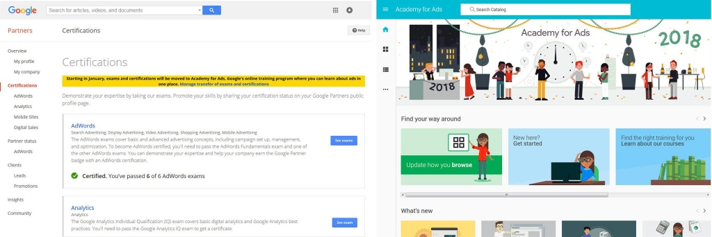 side by side visual comparing google adwords to academy for ads