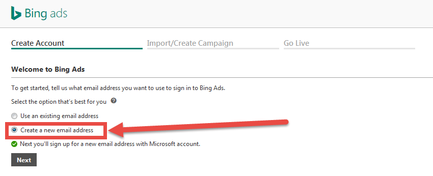 screenshot of creating an account with bing ads