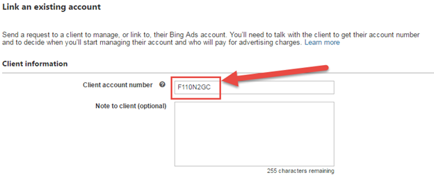 screenshot of bing ads agency client account number field
