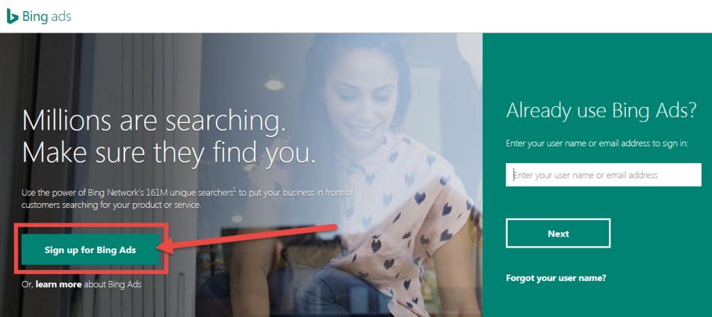 screenshot of bing ads sign-up