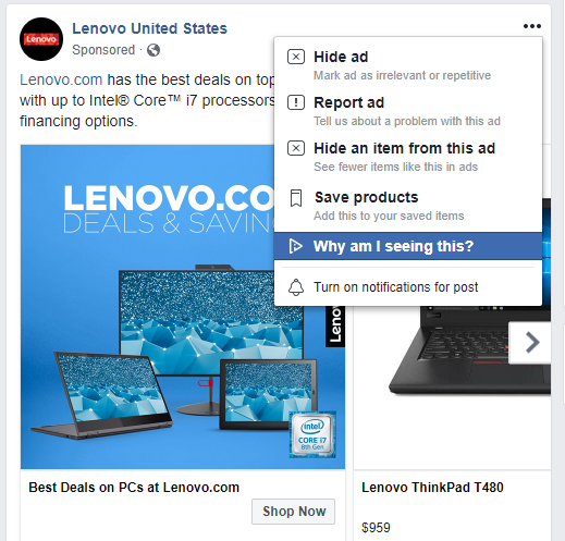 Facebook Why am I seeing this ad notification