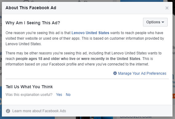 Facebook - Why am I seeing this ad explanation